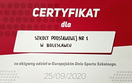 CERTYFIKAT EUROPEJSKIEGO DNIA SPORTU SZKOLNEGO DLA SP1